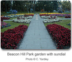 Beacon Hill Park garden with sundial